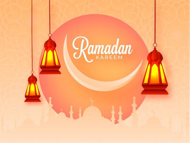 Fondo de celebración de ramadán kareem con luna creciente, mezquita de silueta y linternas colgantes iluminadas en naranja claro Vector Premium