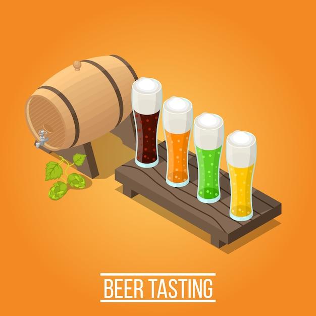 Fondo de cervecería isométrica vector gratuito