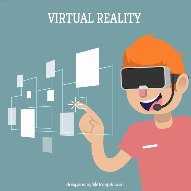 Fondo de chico con imagen virtual vector gratuito