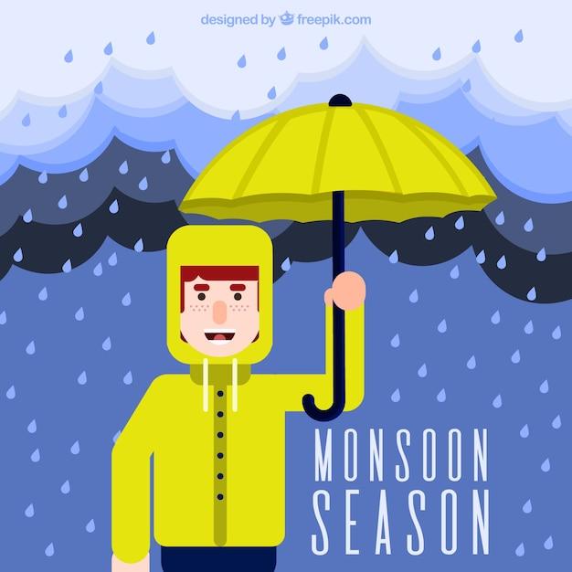 Fondo de chico con impermeable y paraguas vector gratuito