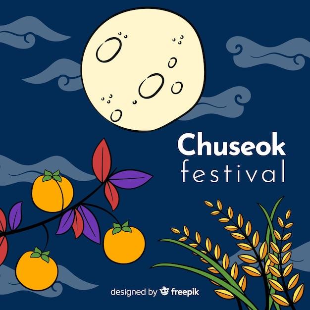 Fondo de chuseok dibujado mano hermosa vector gratuito