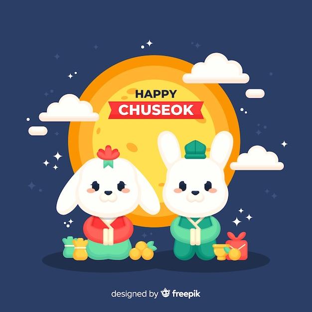 Fondo chuseok en estilo plano vector gratuito