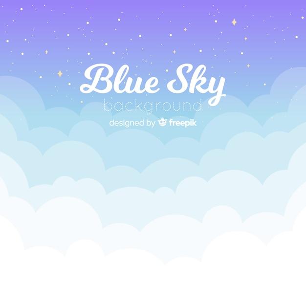 Fondo de cielo azul en diseño plano vector gratuito