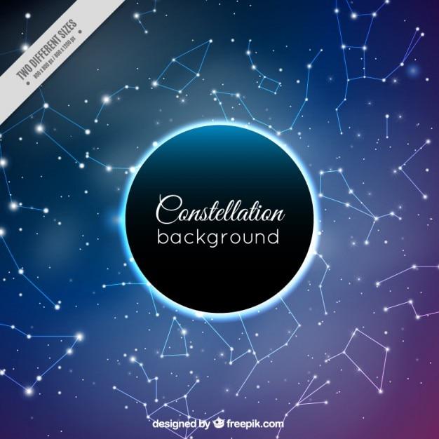 Fondo de cielo brillante con constelaciones vector gratuito