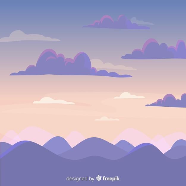 Fondo cielo dibujado a mano vector gratuito