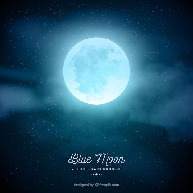 Fondo de cielo nocturno con luna en tonos azules Vector Premium