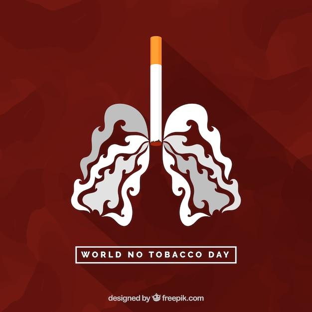 Fondo de cigarrillo y pulmones de humo vector gratuito