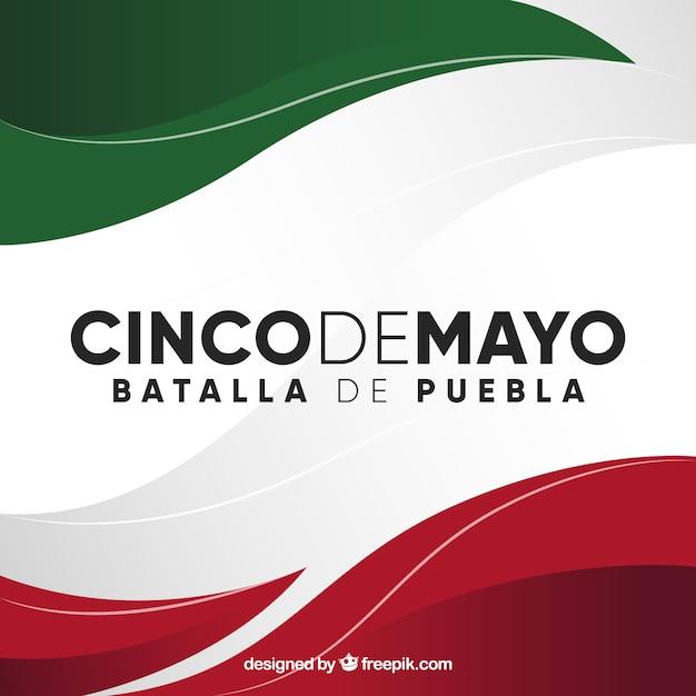 Fondo de cinco de mayo con bandera mexicana Vector Premium