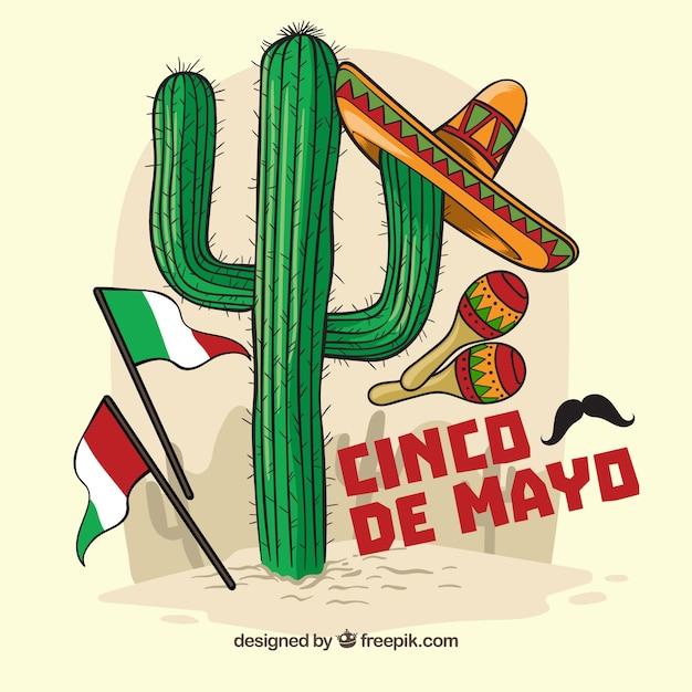 Fondo de cinco de mayo con cactus y elementos mexicanos  3221dad4d48