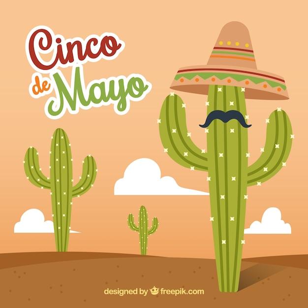 Fondo de cinco de mayo de cactus con sombrero y bigote  21df467316a