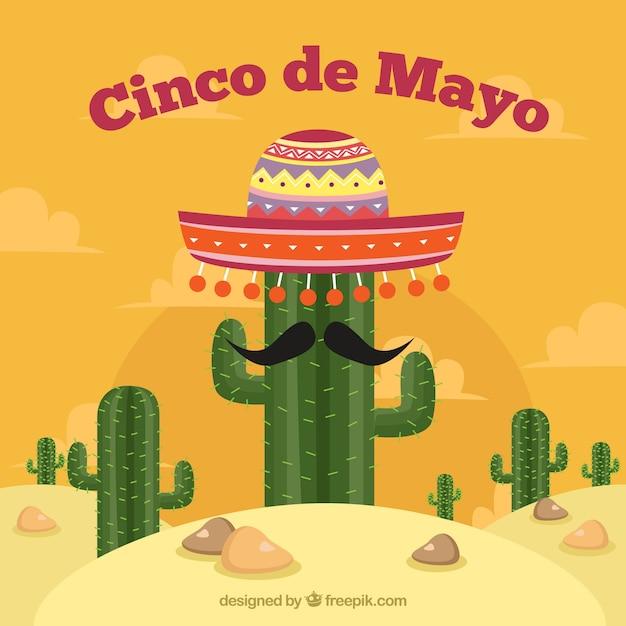 Fondo de cinco de mayo con cactus y sombrero mexicano  04a52868566