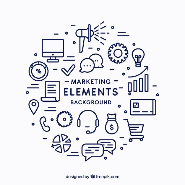 Fondo circular de elementos de marketing Vector Gratis
