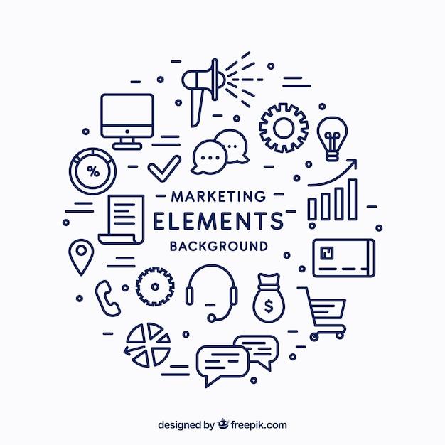 Fondo circular de elementos de marketing vector gratuito