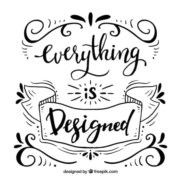 Fondo de cita de diseño gráfico con lettering y ornamentos vector gratuito