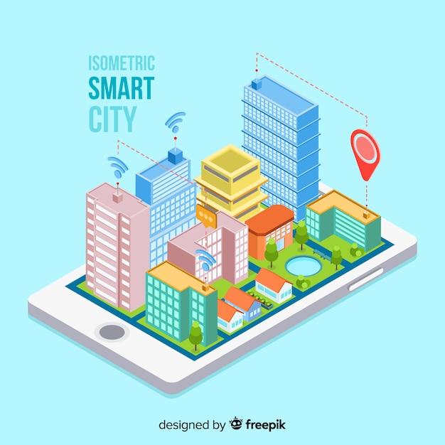 Fondo ciudad inteligente isométrico vector gratuito