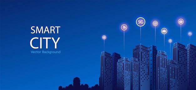 Fondo de ciudad inteligente Vector Premium