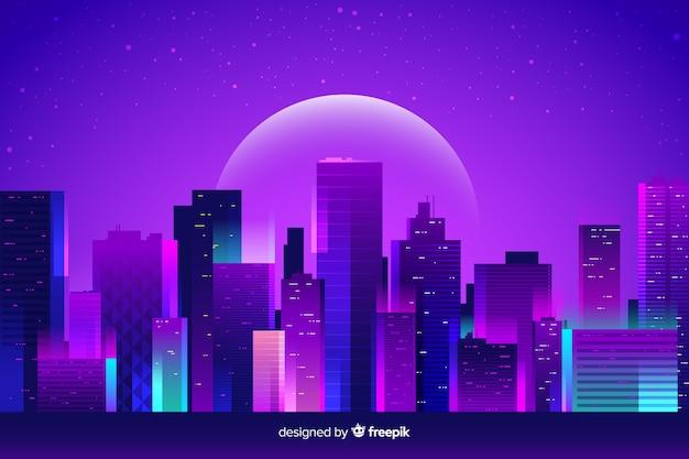 Fondo ciudad de noche futurista vector gratuito