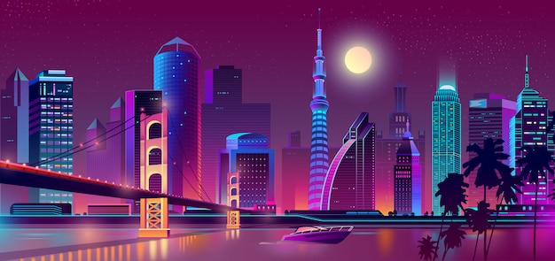 Fondo con ciudad de noche en luces de neón vector gratuito