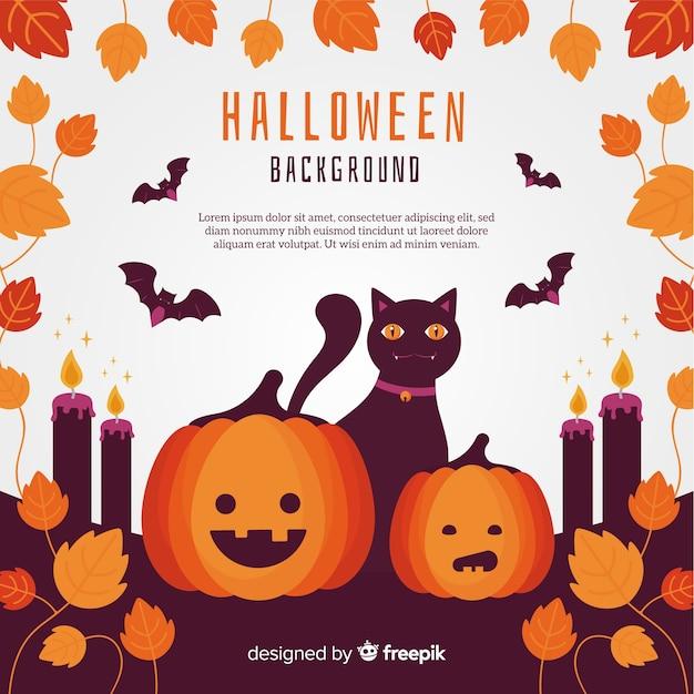 Fondo clásico de halloween con diseño plano | Descargar Vectores gratis