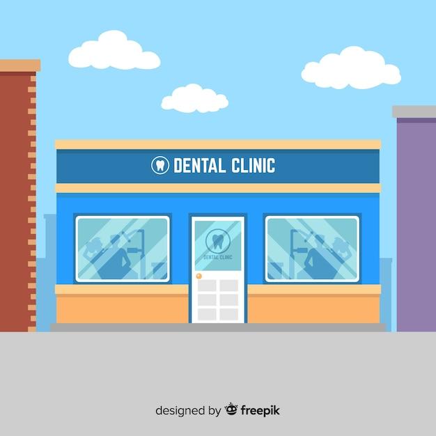 Fondo de clínica dental en diseño plano vector gratuito