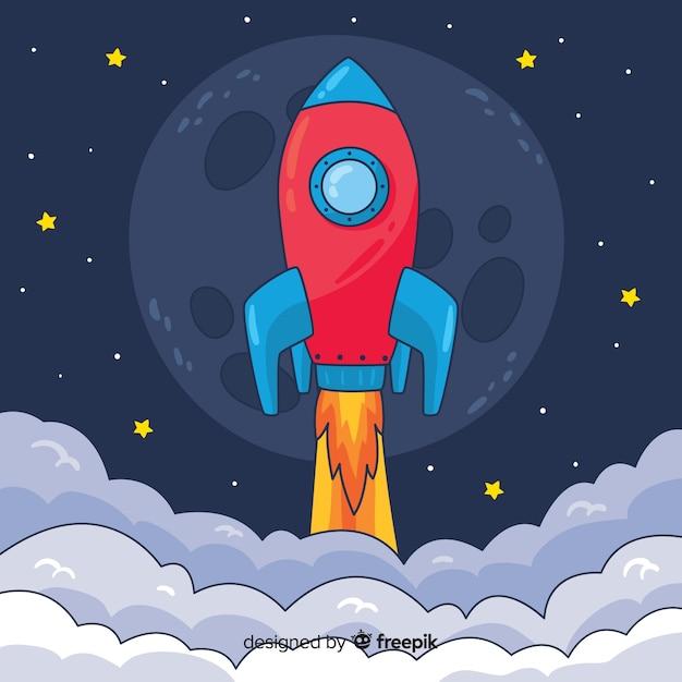 Fondo de cohete subiendo vector gratuito