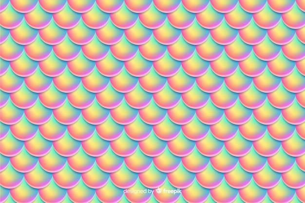 Fondo cola de sirena holográfica vector gratuito