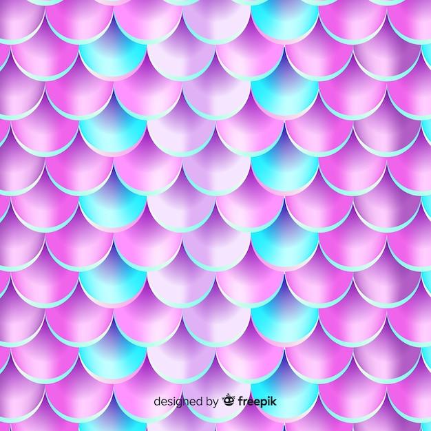 Fondo cola de sirena realista holográfica vector gratuito