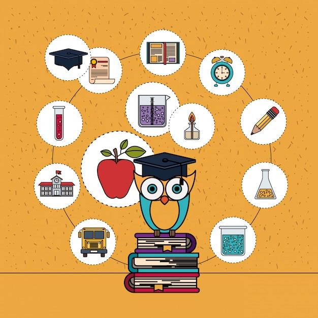 Fondo de color con destellos de lechuza en la pila de libros con iconos de elementos de educación Vector Premium