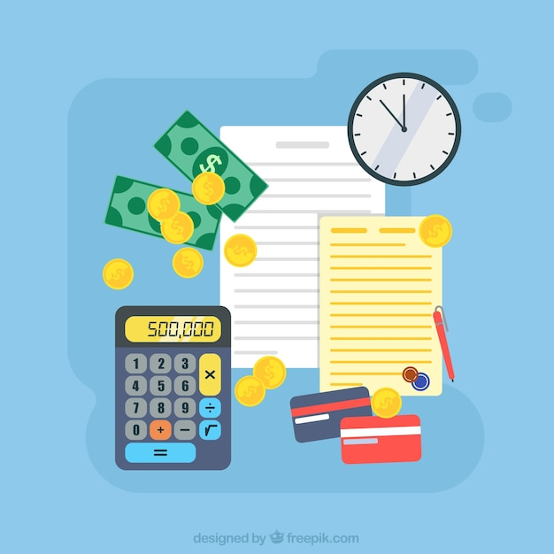 Fondo de color con dinero y documentos vector gratuito