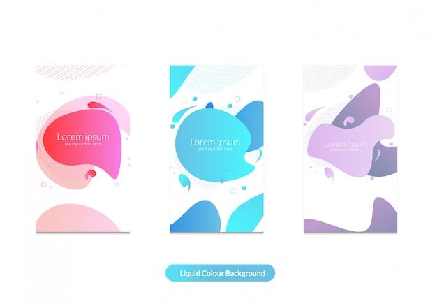 Fondo de color líquido y plantilla de historia de instagram. Vector Premium