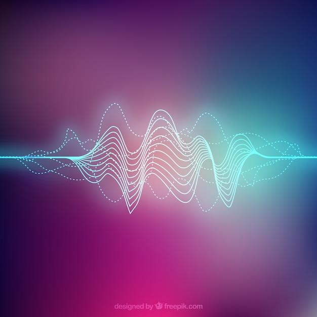 Fondo de color con onda sonora abstracta Vector Premium