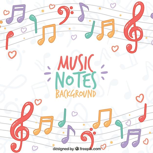 Fondo de colores de notas musicales en el pentagrama Vector Premium