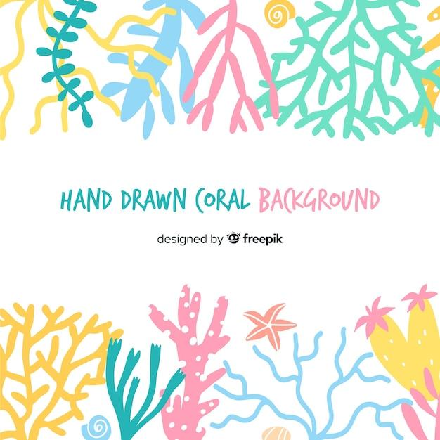 Fondo colores pastel dibujado a mano coral vector gratuito