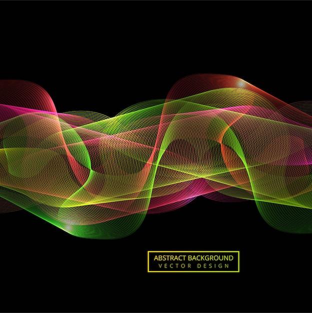 Fondo colorido abstracto de la onda del humo Vector Premium