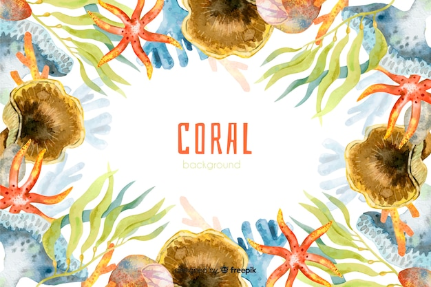 Fondo colorido acuarela coral vector gratuito