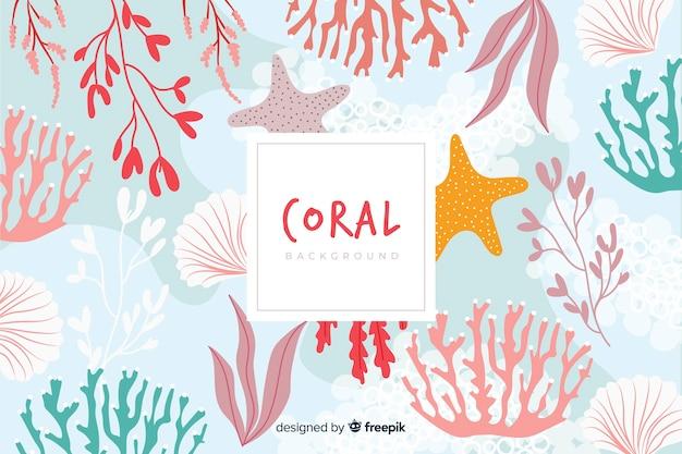 Fondo colorido coral dibujado a mano vector gratuito