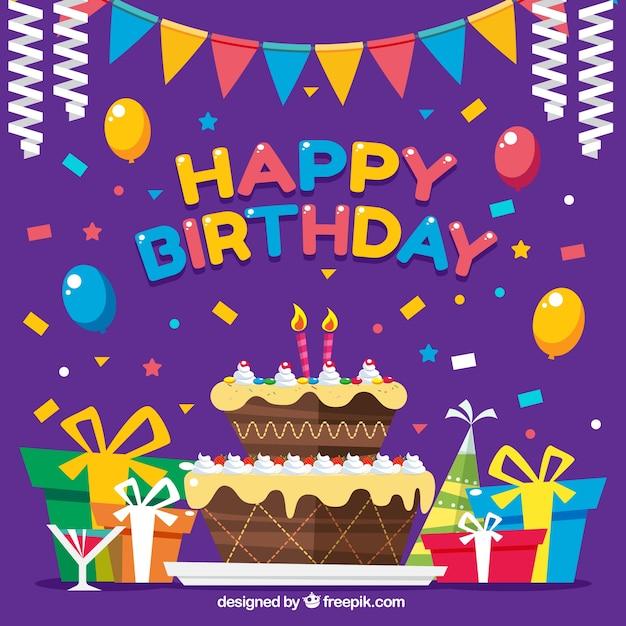 Fondo colorido con decoración un pastel de cumpleaños | Descargar ...