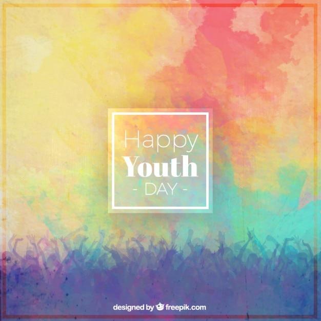 Fondo colorido del día de la juventud vector gratuito