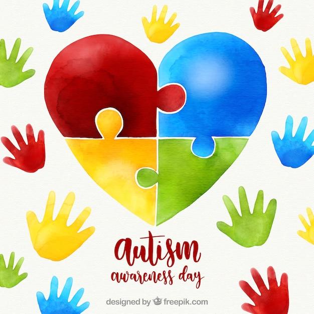 Fondo Colorido Del Día Mundial Del Autismo Vector Premium