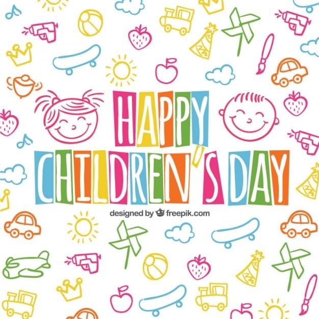 Fondo colorido del día de los niños en estilo esbozado vector gratuito