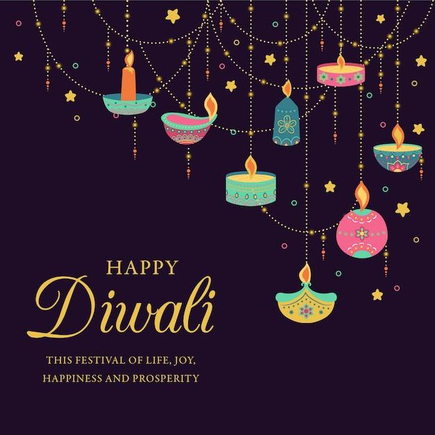 Fondo colorido de diwali con velas decorativas Vector Premium