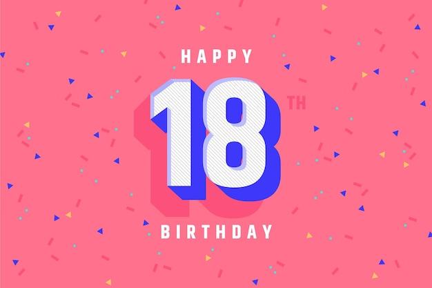 Fondo colorido feliz cumpleaños 18 vector gratuito