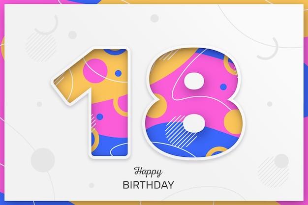 Fondo colorido feliz cumpleaños 18 Vector Premium