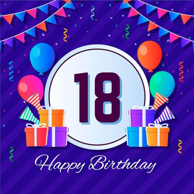 Fondo colorido feliz cumpleaños con globos y regalos vector gratuito