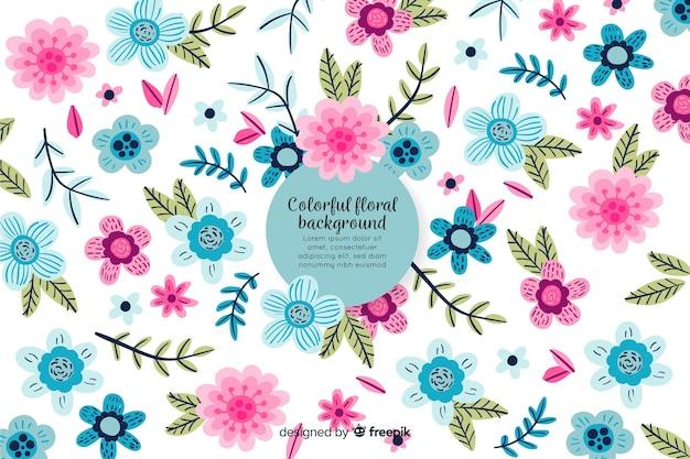 Fondo colorido floral dibujado a mano vector gratuito