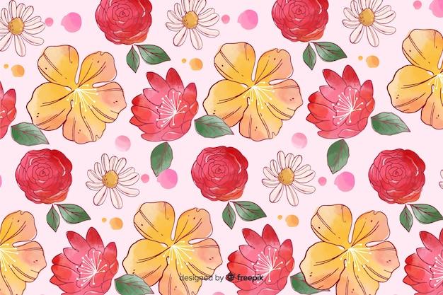 Fondo colorido floral estilo acuarela vector gratuito