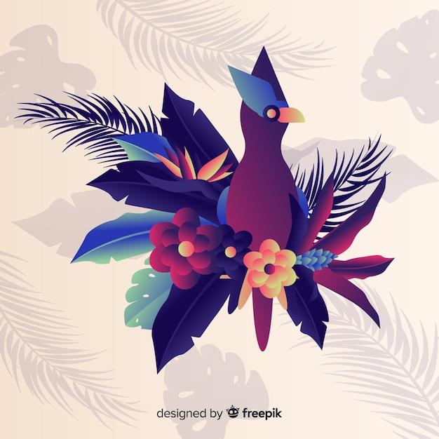 Fondo colorido de flores exóticas vector gratuito