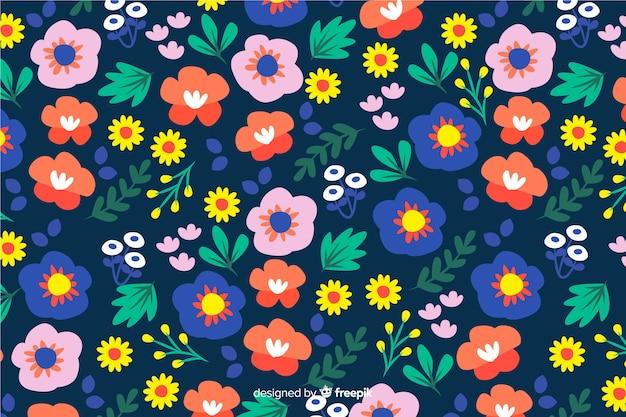 Fondo colorido de flores y hojas vector gratuito