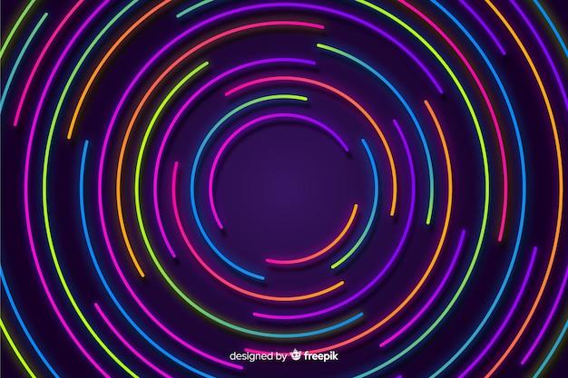 Fondo colorido con formas geométricas en luz neón vector gratuito