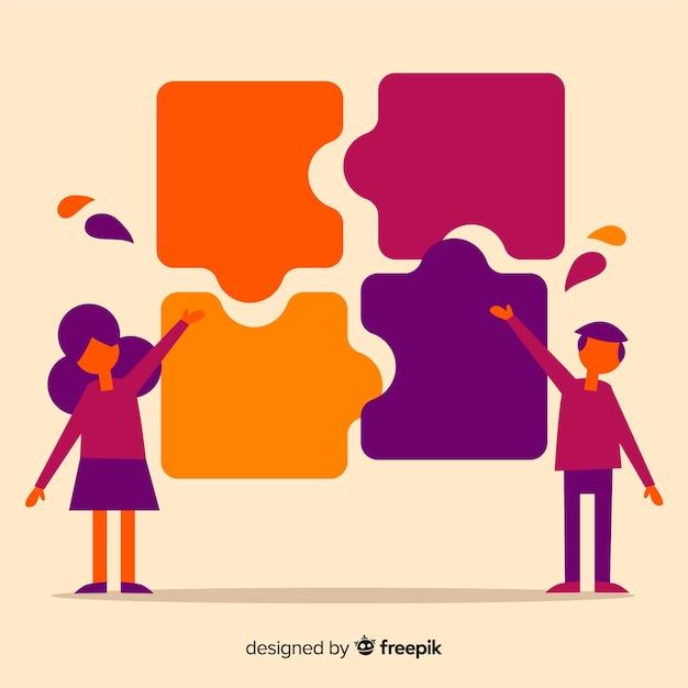 Fondo colorido gente haciendo puzzle juntos vector gratuito